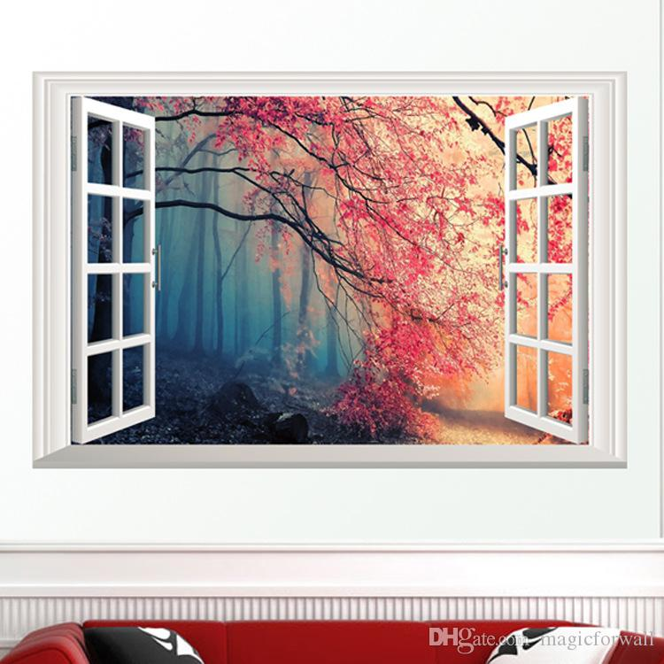 The Scenery out of the Window Wall Art Decal Sticker 3D Window View Wallpaper Decor Poster Living Room Bedroom Hallway Decorative Graphic