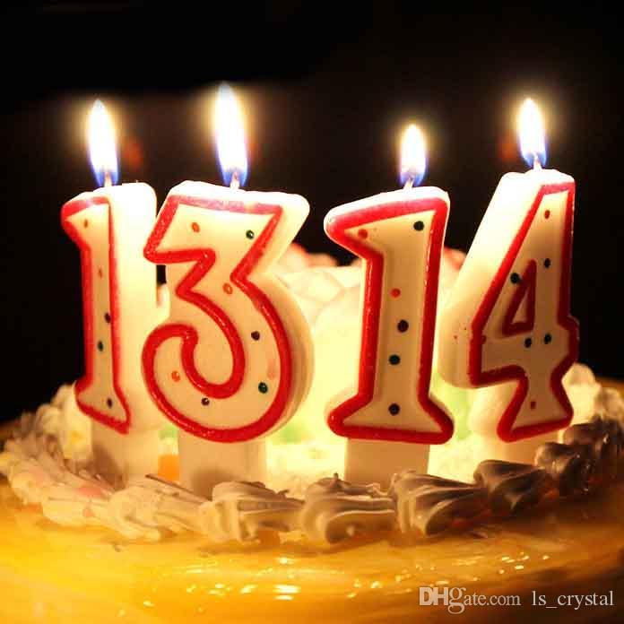 Grosshandel Geburtstag Party Nummer Kerze Romantische Polka Dot Rote