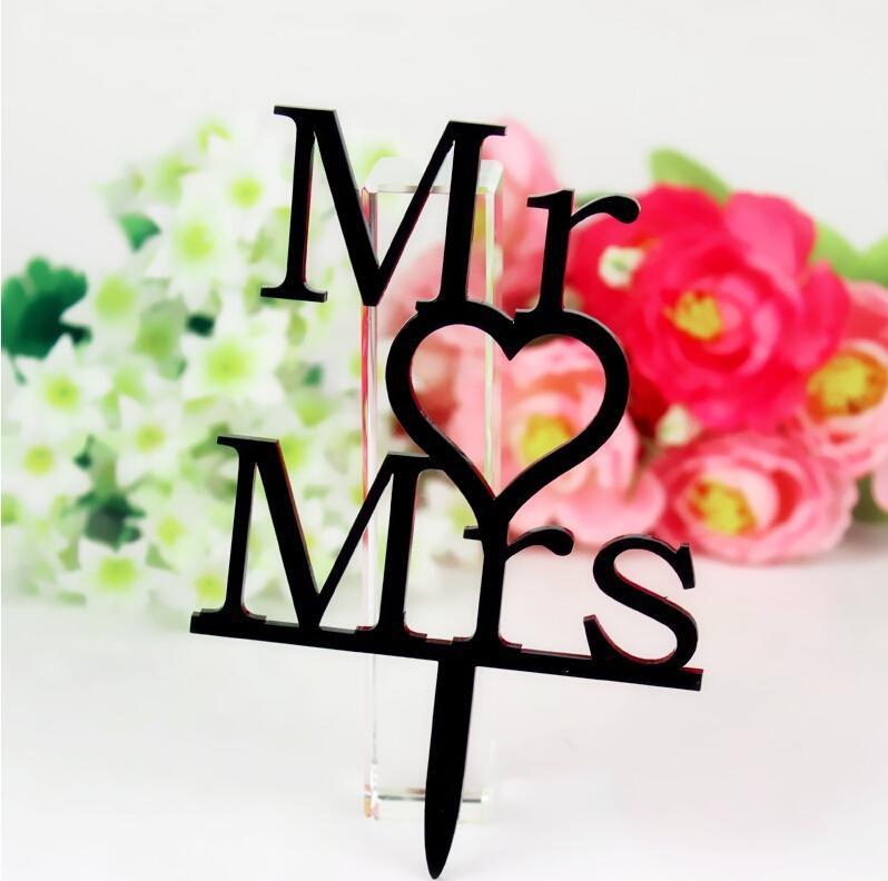 Romance Heart Mr&Mrs Acrylic Wedding Cake Decorations Creative Wedding Birthday Festival Party Decorations Cake Topper Cheap