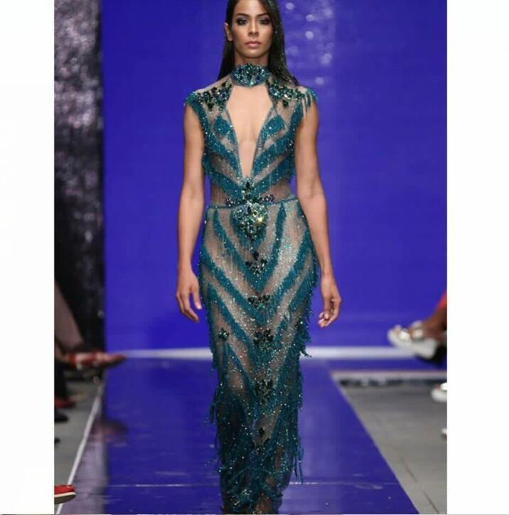 Evening Dress Yousef Aljasmi Kim Kardashian Sheat Blue Tassels ...