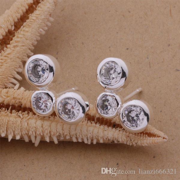 Moda fabricante de joyas 20 piezas mucho 3 Pendientes de diamantes redondos precio de fábrica de la joyería de plata esterlina 925 Pendientes de brillo de moda