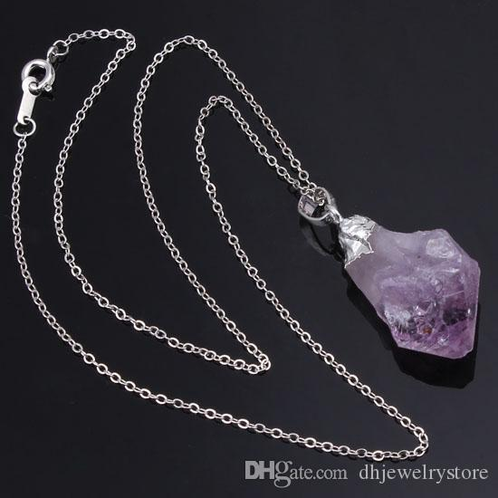 Wholesale Charms Silver/Gold Plated Natural Amethyst Yellow Quartz Crystal Gemstone Random Shape Pendant Necklace Jewelry