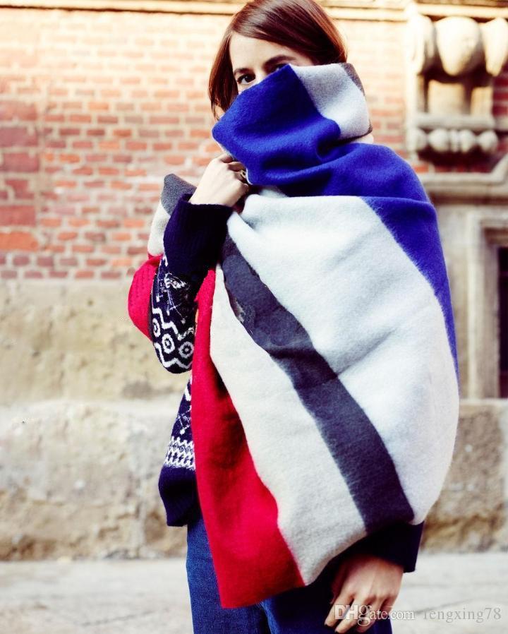 nueva 2015Lady Mujeres Manta de Gran Tamaño de la Bufanda de Tartán Arco Iris tela escocesa Abrigo chal Pashmina otoño invierno primavera bufanda