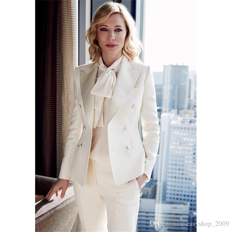 2019 Women Business Suits Formal Office Suit Work Ivory Ladies
