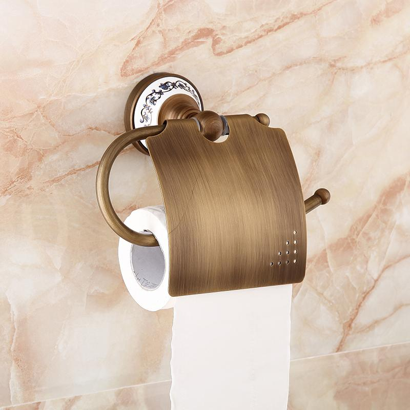 Bule And White Porcelain Toilet Paper Roll Paper Holder Antique Roll