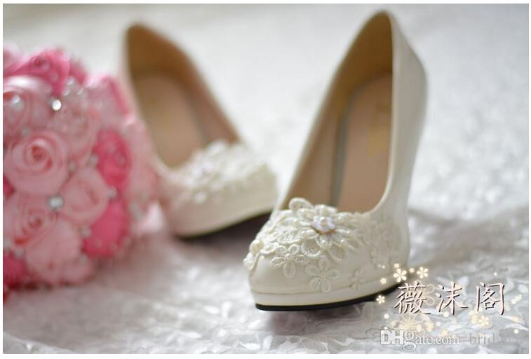 Shoes Woman High Heels Wedding Shoes Platform Shoes White Pearl Lace Flower Bridal Shoes Women Pumps Flat/4.5cm/8cm