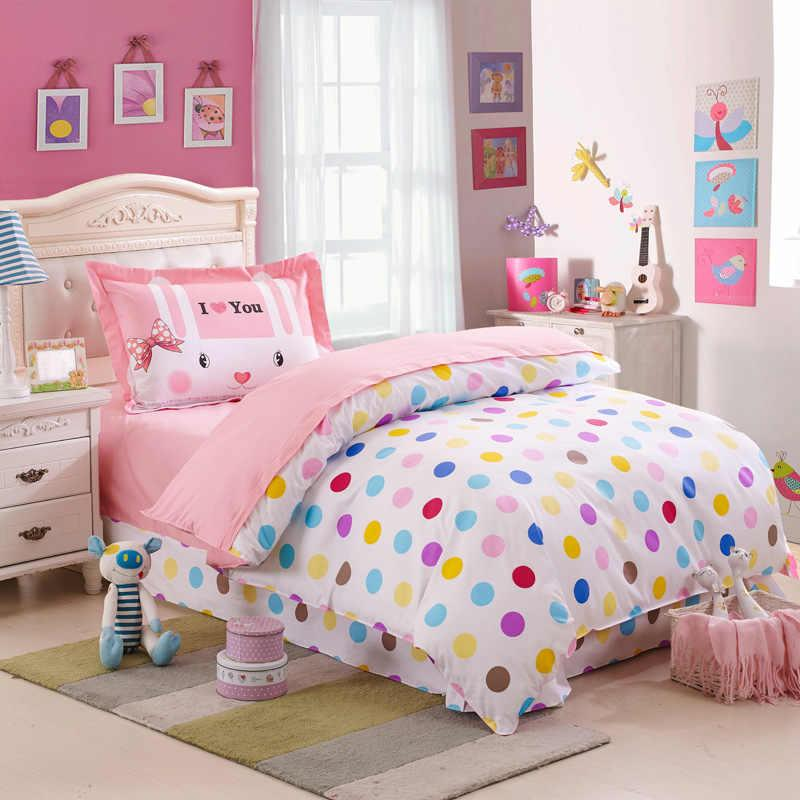 kids colorful polka dot cute comforter bedding sets twin size 100 cotton bedspreads with reversible duvet cover sheet pillowcase 3grey and blue bedding