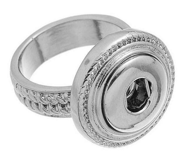NOOSA Fashion size7 antique silver rings Chunk mini Snap Button Ring DIY Noosa ginger snaps interchangeable Jewelry