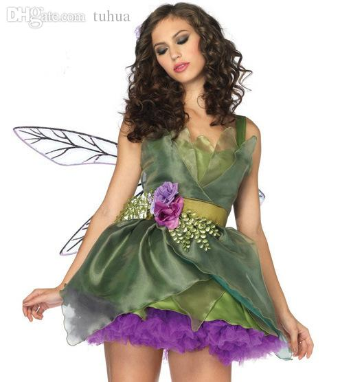 wholesale halloween costumes for women sexy woodland green fairy tinkerbell dresses outfit adult halloween costume new cosplay fancy dress cosplay online