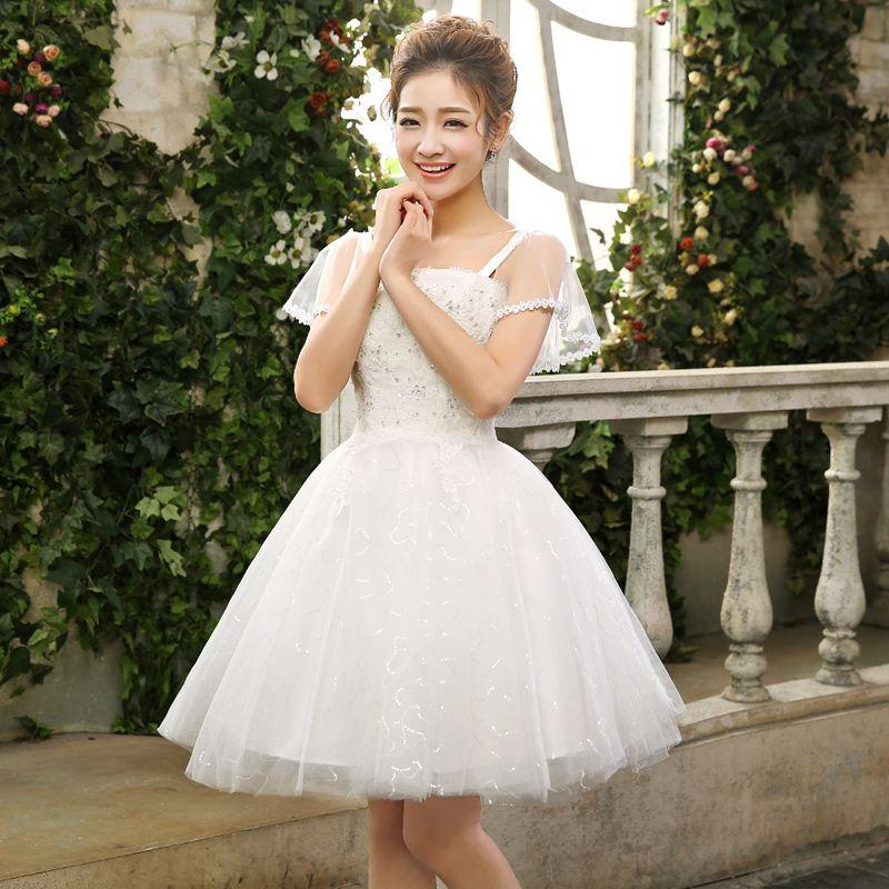 Short Wedding Dress 2014 New Bridesmaid Tutu Out Of Yarn Puff Graduation Pictures Gowns Bridal Dresses From Shifanmaoyi1989