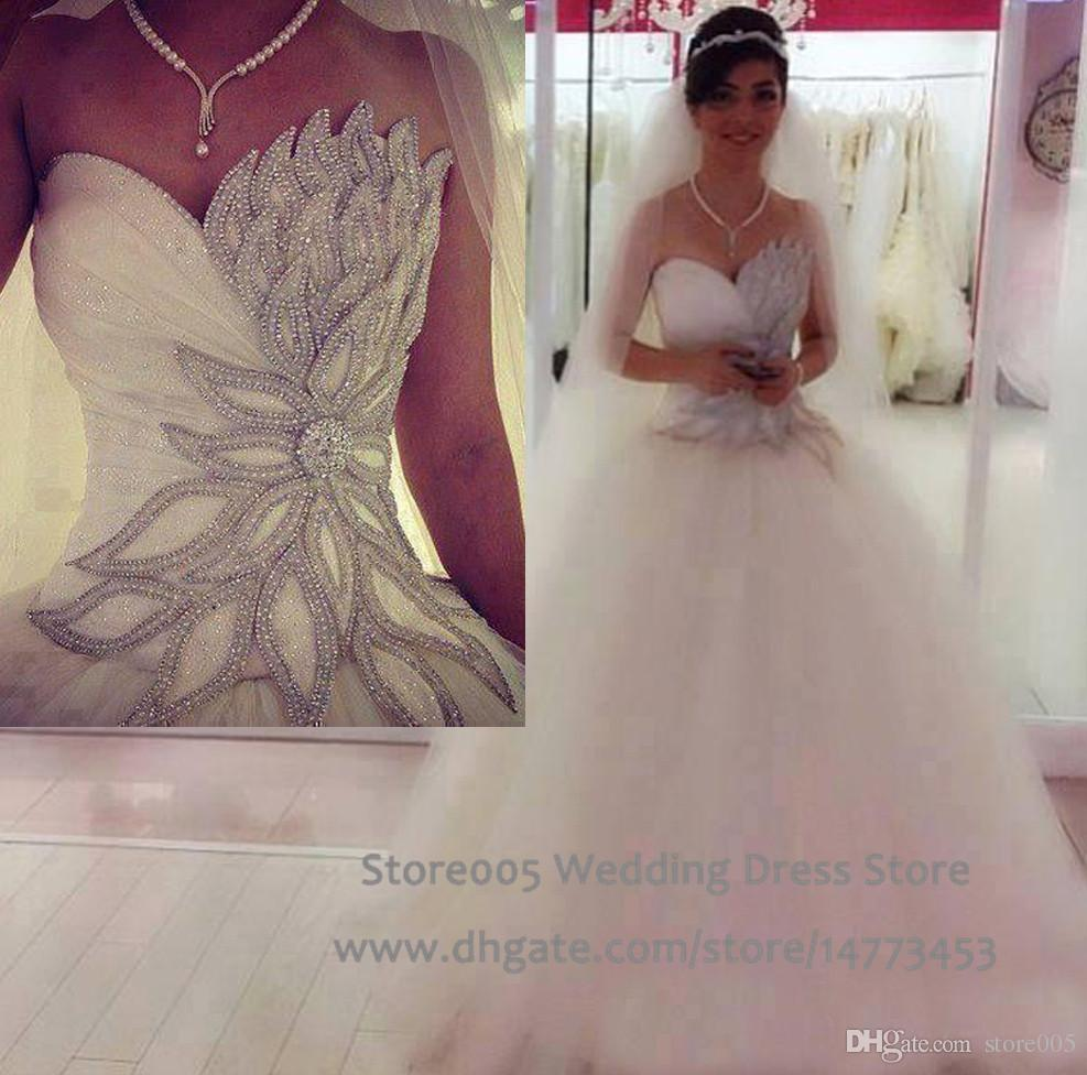 Shining Beaded Corset Ball Gowns Tulle Rhinestone Wedding Dress Sweetheart 2016 Crystal Bridal Gown Pleat Floor Length W4266 Backless Dresses