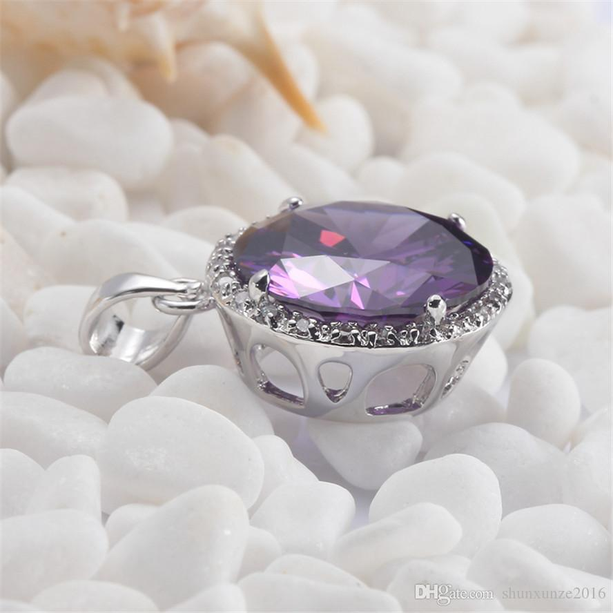 Christmas gift Noble Generous MN487 Amethyst Cubic Zirconia Wholesale Copper Rhodium Plated Punk Promotion Pendants Time limited discount