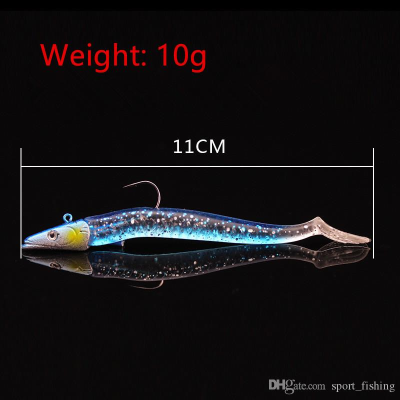 Jigs Hook Soft Baits & Lures Mixed 11cm 10g Lead Head Fishing Hooks Pesca Fishing Tackle SF_37
