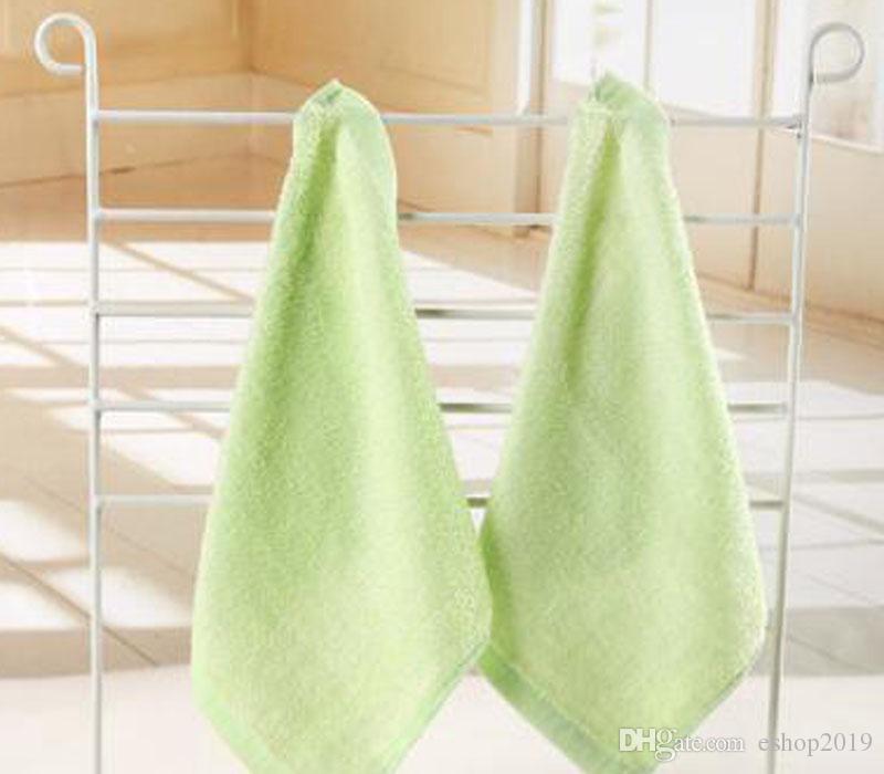 Toalha macia Bamboo Toalhas flanela rosto bordado Mão Organic Baby Wipes Washcloth 25x25cm Verde Azul Rosa Amarelo
