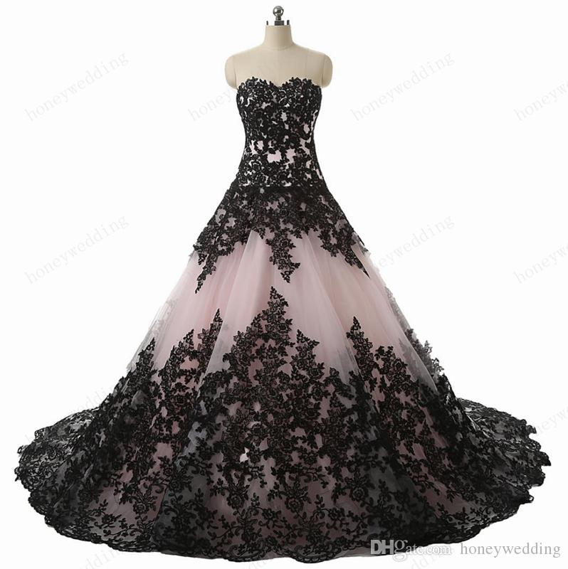 Gorgeous Real Photos Wedding Dresses 2016 New Sweetheart Pink Tulle Black Lace Appliques Lace Up Back Ball Gown Bridal Gowns Custom Made