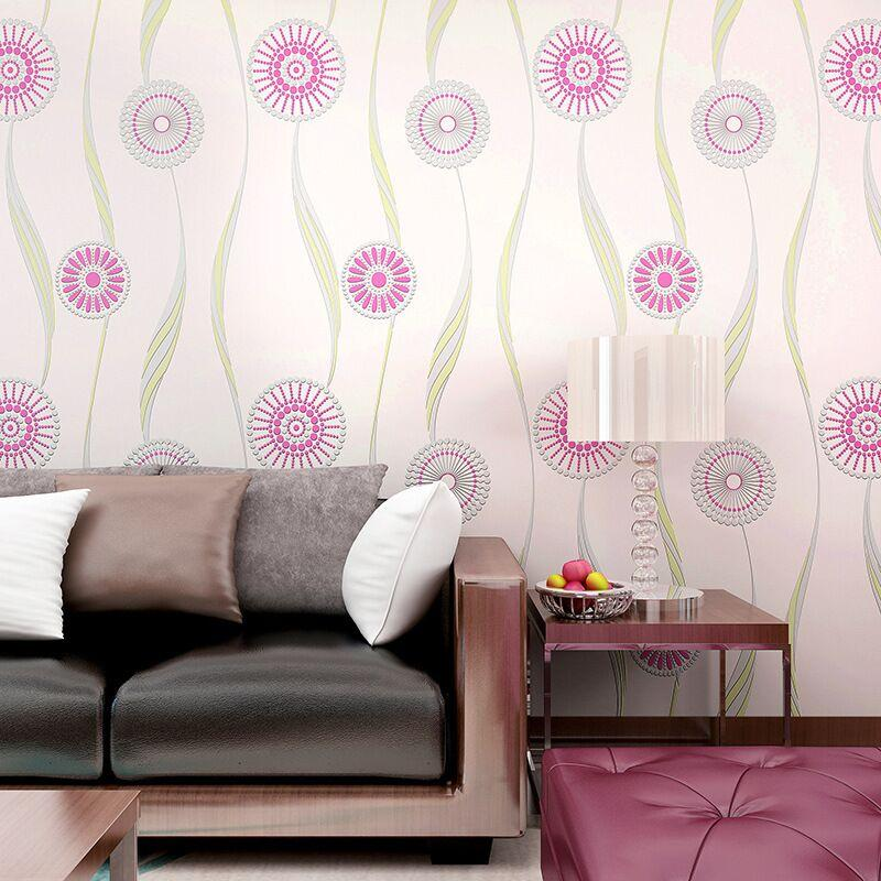 Abstract Circle Wallpaper Rolls Hot Pink/ Black/ Yellow Floral Wall  Covering Wedding Decoration Tv Background Bedroom Decor Hd Wallpaper S Hd  Wallpaper ...