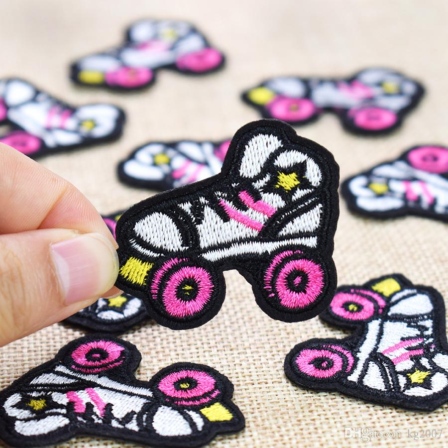 Skating Shoes Embroidered Patches for Clothing Iron on Transfer Applique Patch for Jeans Bags DIY Sew on Embroidery Kids Stickers