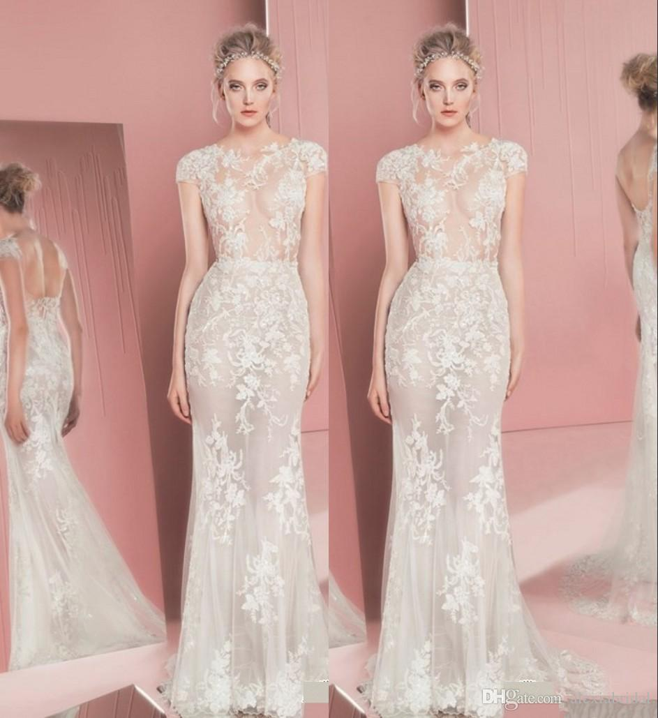 Illusion Lace Mermaid Wedding Dresses White/Ivory Zuhair Murad 2016 Couture Wedding  Dresses Sheer Tulle Backless Bridal Gowns Made In Usa La Maternity ...