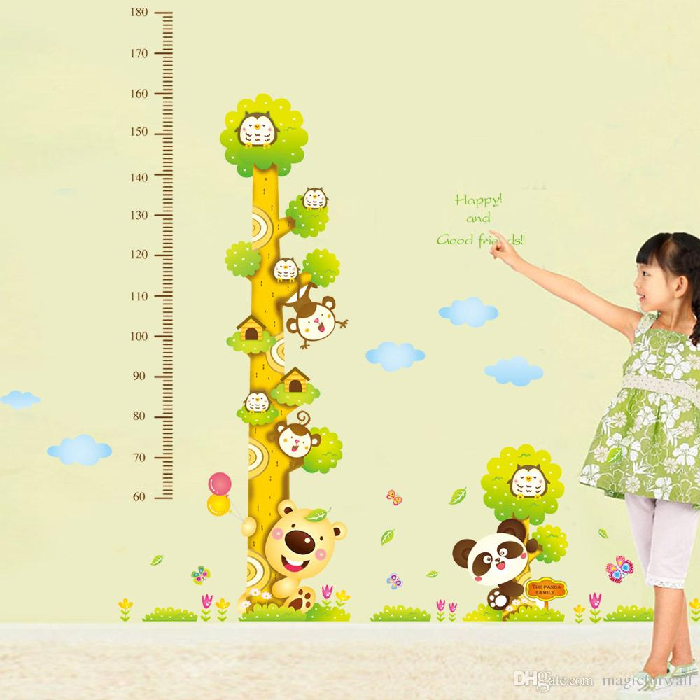 New Cute and Friendly Animals Height Growth Chart Decal Stickers-Forest Zoo Cartoon Owls Bears Monkeys Height Measurement Height Wallpape