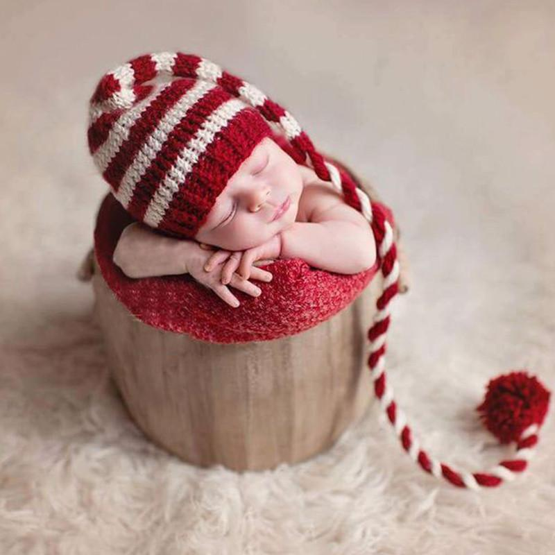2018 Baby Knitting Long Tails Christmas Hat Newborn Photography ...