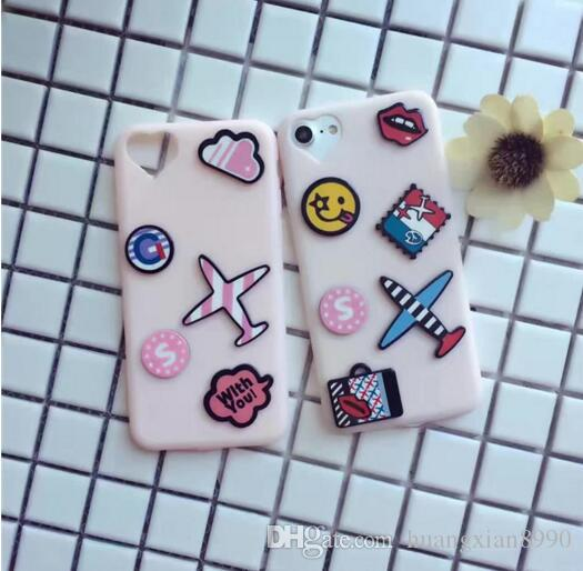 For iPhone 7 Fashion Cute 3D Cartoon Blue Aircraft Kiss Lips Soft Silicone Case Cover For iPhone 7plus New Phone Cases Bag Girls