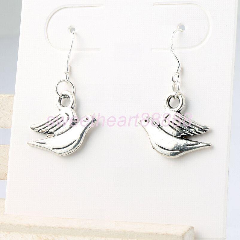 Barış Dove Küpe 925 Gümüş Balık Kulak Kancası 30 çift / grup Tibet Gümüş Dangle Avize E184 33x20mm