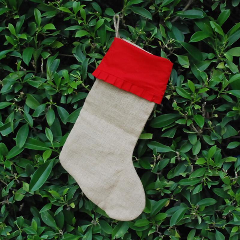 도매 공백 새로운 오는 황마 스타킹면 커프 선물 홀더 크리스마스 Decroation 세 가지 색상 DOM106191