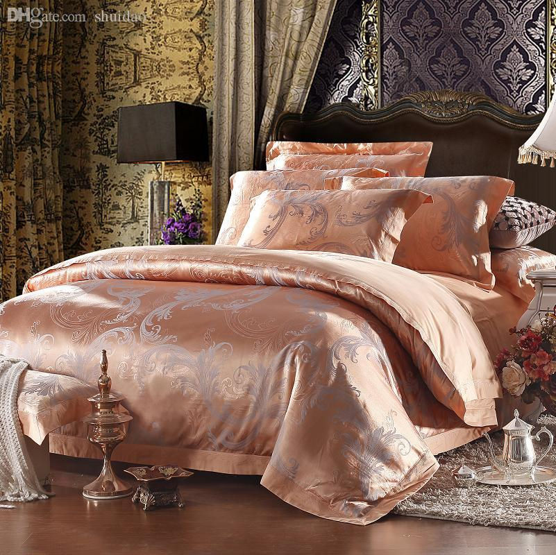 2018 Wholesale Yarn Dyed Poly Cotton Bedding Set Rose Gold