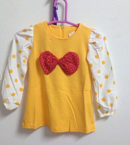 El más barato ! ! Los niños visten Niñas Dot Big Bow Dress Vestido de manga larga Amarillo Verde