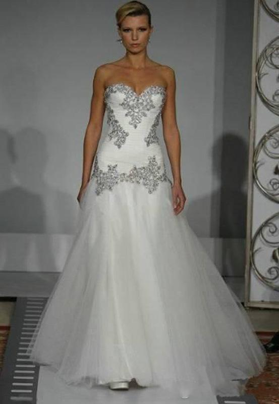 2015 pnina tornai wedding dresses a line sweetheart bridal gowns bling bling with tulle beaded lace up back sweep train wedding dresses new lace wedding