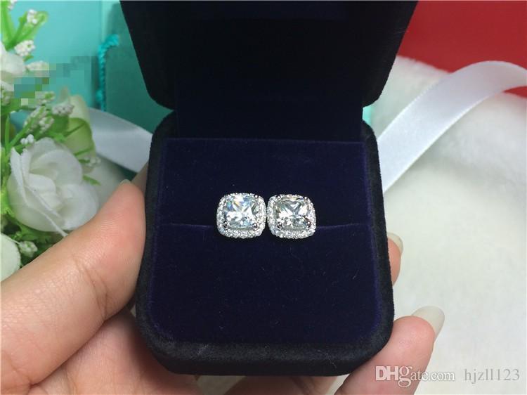 Yüksek kalite 4 karat / çift Prenses Kare kesim kadınlar için sentetik elmas küpe düğün nişan Beyaz Altın Kaplama Saplama Küpe