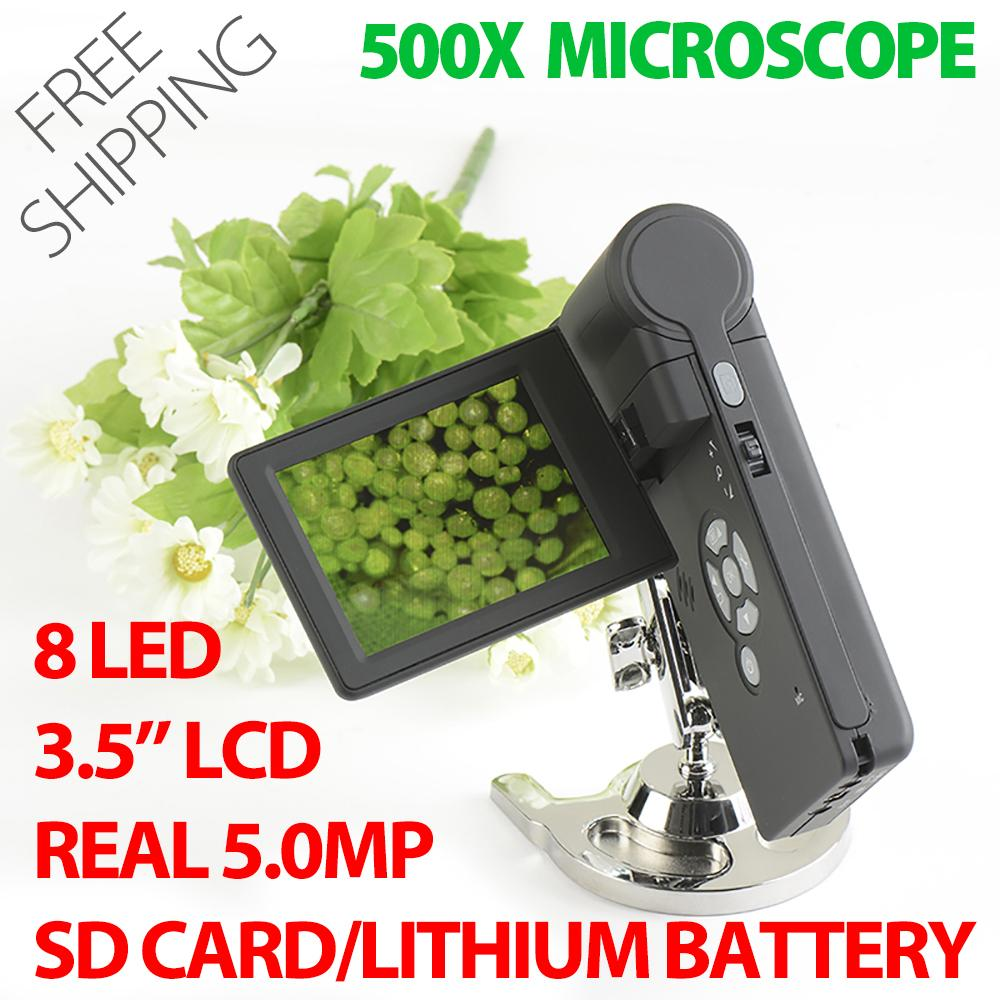 2019 Professional Handheld Digital 500x Microscope Real 5 0mp 3 5