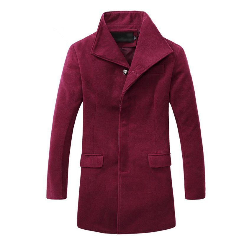 Fall-Mens Pea Coat Wool Male Winter Men Long Coat Brand Covered ...