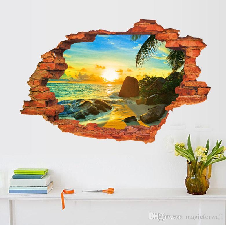 3D Cracked Wall Art Mural Decor Grassland Desert Village Sunset & Sunrise Seascape Romantic Lavender Love Sea Alley Scenery Wall Decal