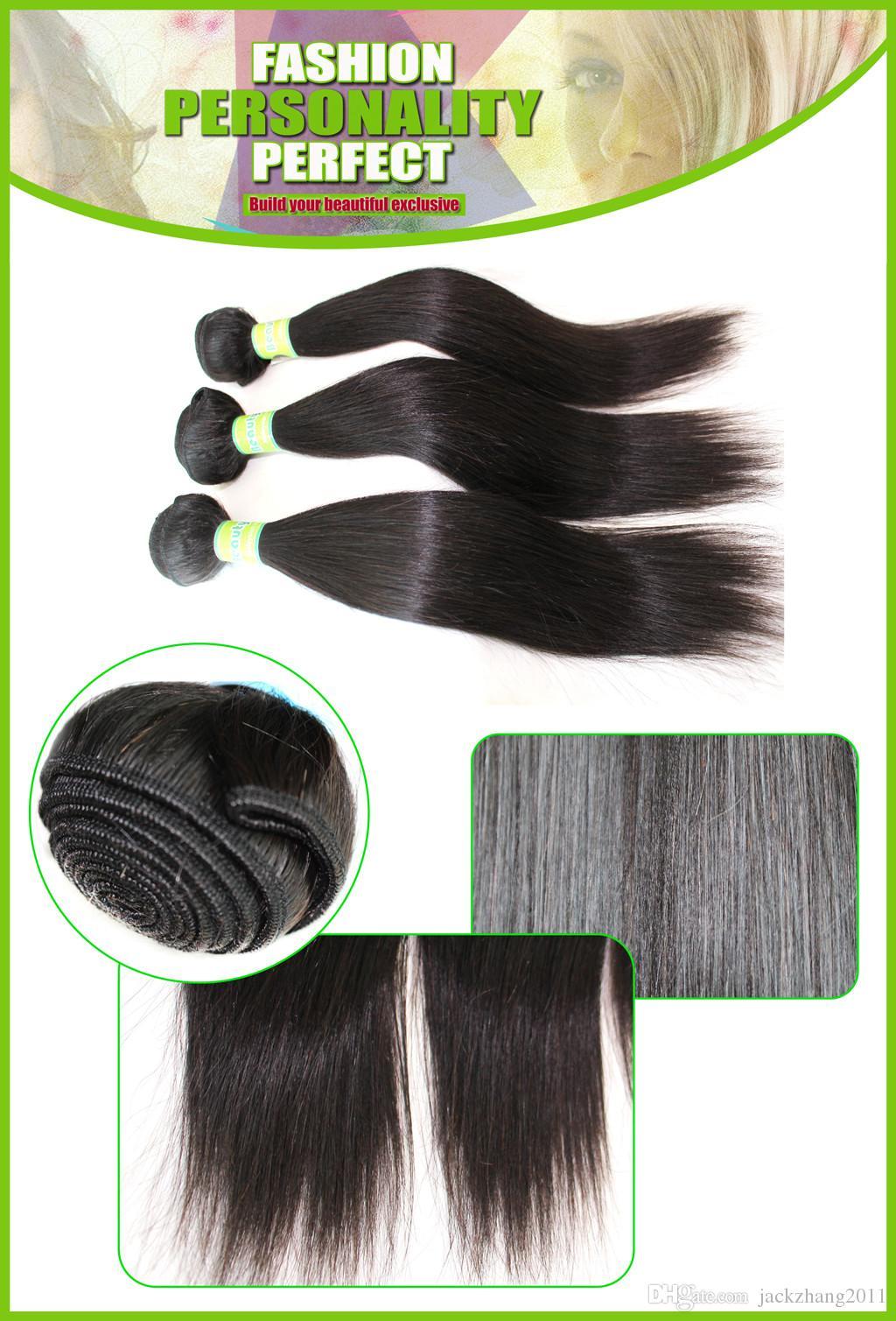 Brasilianische Haarwebart Kaufen Sie 3 Stück Haar Holen Sie sich eine kostenlose Lace Closure unverarbeitete malaysische indische peruanische mongolische Echthaarverlängerung