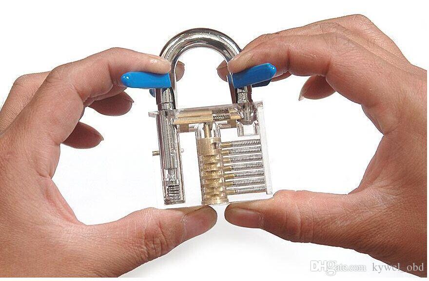 HotBullkeys قفل شفاف لل عبودية / يتوهم قفل ، هدية مضحك ، ممارسة قفل ل lockpicking مهارة مع 2 مفاتيح شحن مجاني