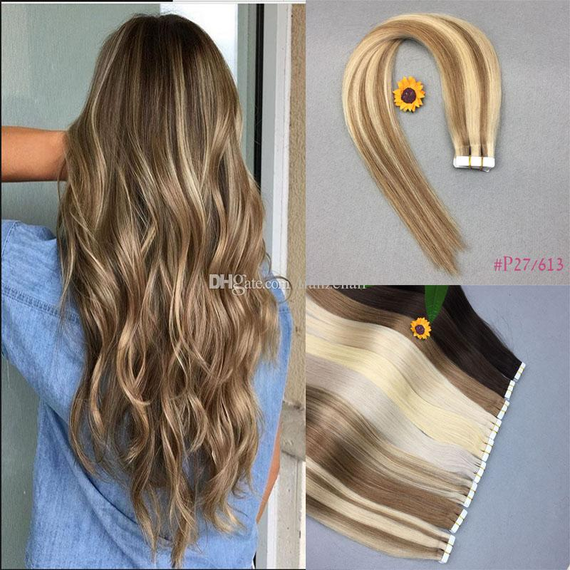 Glue Skin Weft Pu Tape In Human Hair Extensions 100 Brazilian
