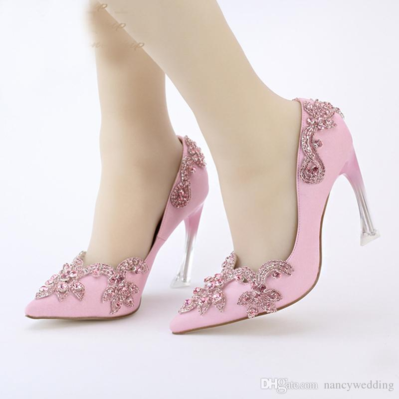 Crystal Clear Heel Envening Party Prom High Heel Shoes 9cm Pointed Toe Wedding Bridal Shoes Size 34-42 Plus Size Pink Satin Pump