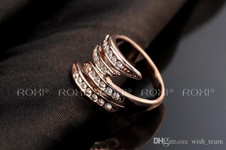 Moda Yeni Avusturyalı Kristal Zirkon Melek kanatları Yüzük Düğün Nişan Yüzük Tam Boyutu Gerçek 24 K Gül Altın Dolu Moda Takı A044