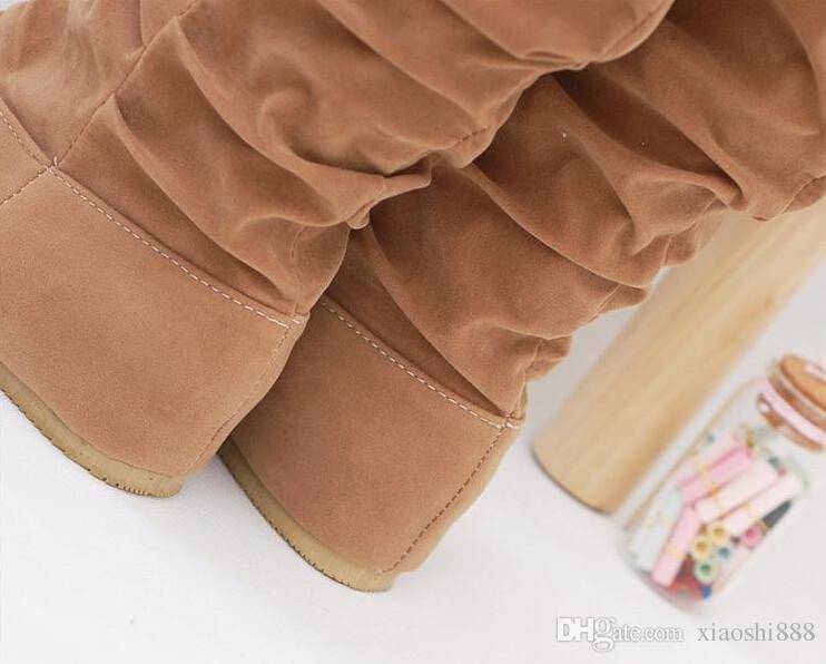2019 nuova moda primavera autunno scarpe casual principessa dolce donne avvio elegante piatto scarpe flock moda stivali a metà polpaccio