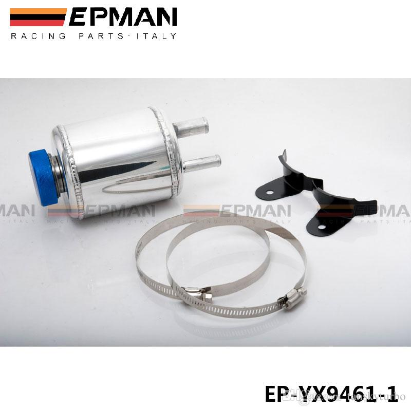 EPMAN -High Quality Fuel Cell Racing Power Steering Tank Pump Aluminum Breather Tank With Brackets EP-YX9461-1