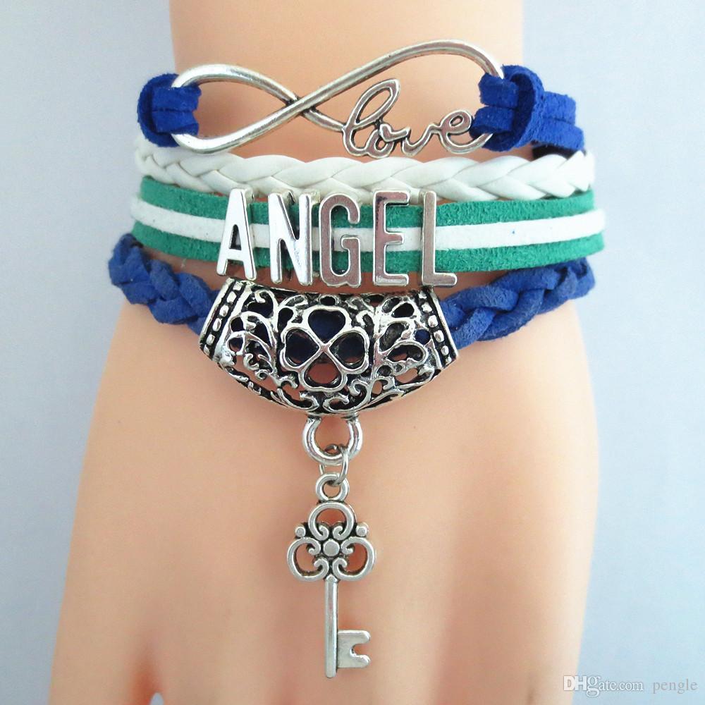 Vente chaude Bijoux Bracelets Charme Bracelets Infinity Amour Angle En Cuir Bracelet De Mode Bracelets Pour Les Femmes Cadeau Livraison Gratuite