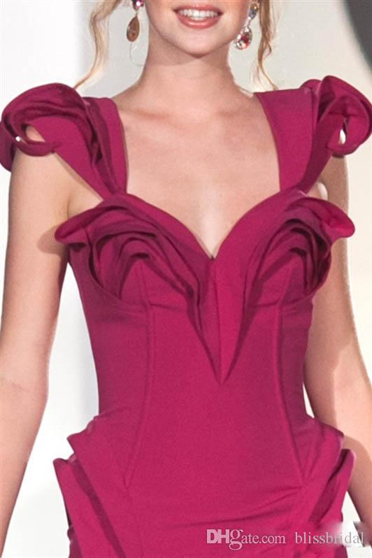 Formal Runway Fushia Evening Dresses Satin Spaghetti Straps Ruched Sheath Women Prom Gowns 2016 Custom Made Evening Gowns