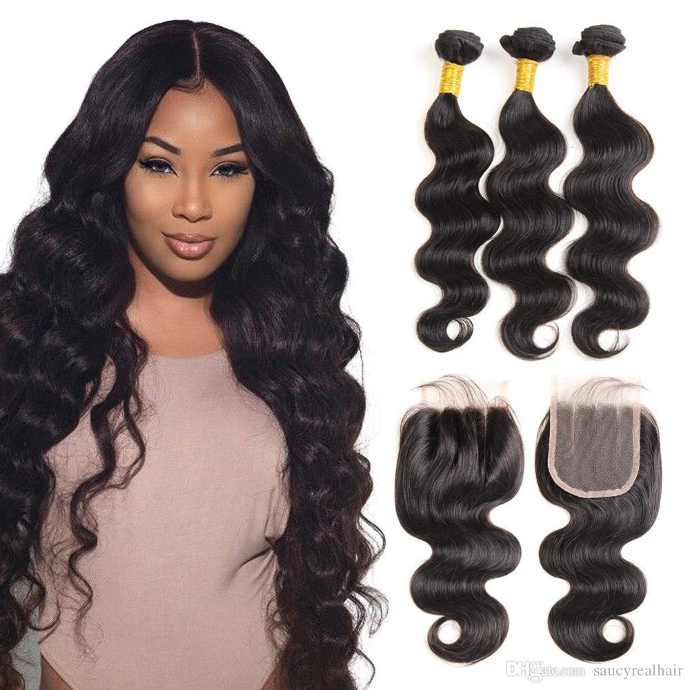 Brazilian virgin human hair weave unprocessed body wave natural color 4x4 lace closure with three bundles from Elibess