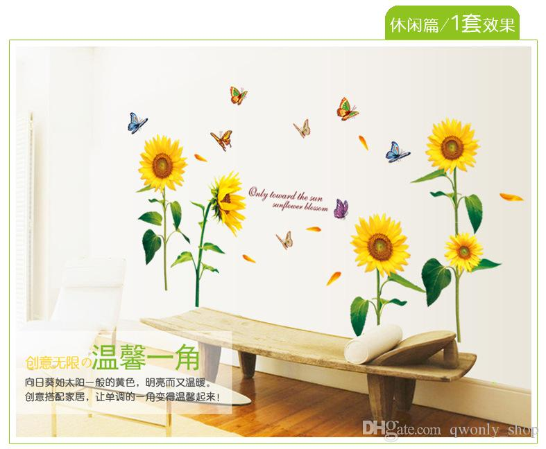 Romantic Sunflower Wall Sticker with Colorful Butterfly DIY Remove Home Decor Flower for Household/Bedroom/TV Background 125*105cm