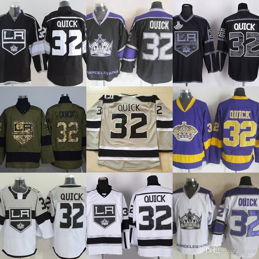 68132e099 2018 Factory Outlet Men S Los Angeles Kings  32 Jonathan Quick Black Green  Purple White Grey Best Quality Cheap Ice Hockey Jerseys From Since
