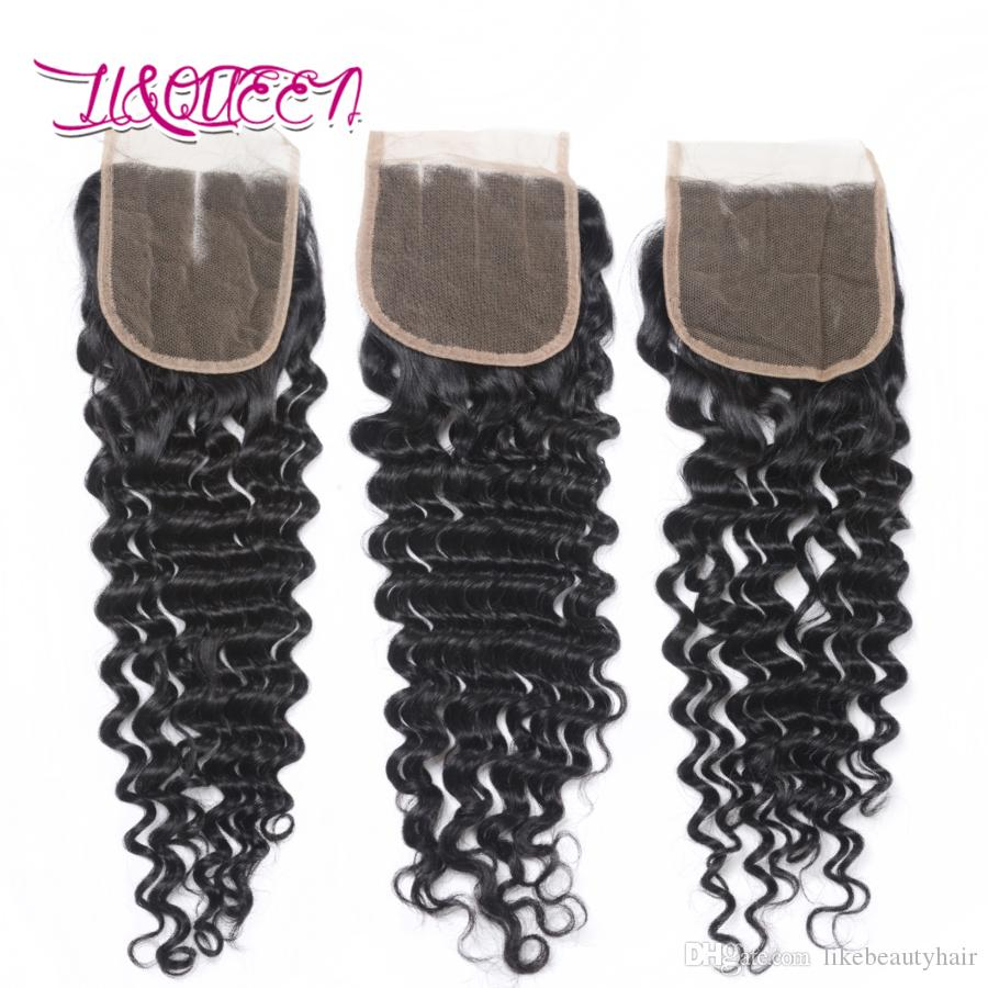 Mongolia Deep Wave pelo humano 4x4 cierre de encaje sin procesar Extensiones de cabello Color Natural Top cierre de encaje onda profunda rizado pelo de la Virgen