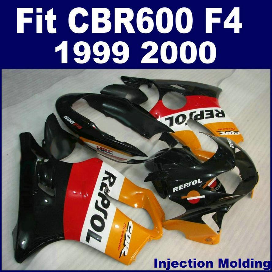100% Enjeksiyon kalıplama parçaları HONDA CBR 600 F4 1999 için tam fairing kitleri 2000 sarı kırmızı siyah 99 00 CBR600 F4 bodykits ILOJ