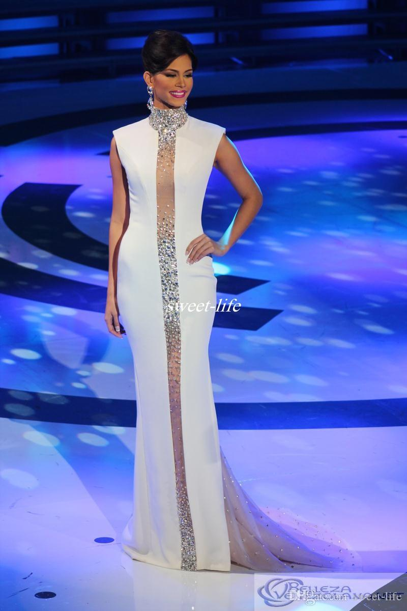 Miss Universe Pageant Evening Dresses White High Neck Crystals Cap Sleeve Tulle Mermaid Cheap 2019 Celebrity Gowns Formal Prom Dresses