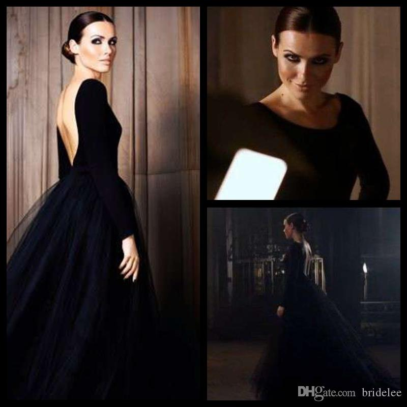 Black Puffy Tulle Skirt Open Back Elegant Long Sleeve Evening